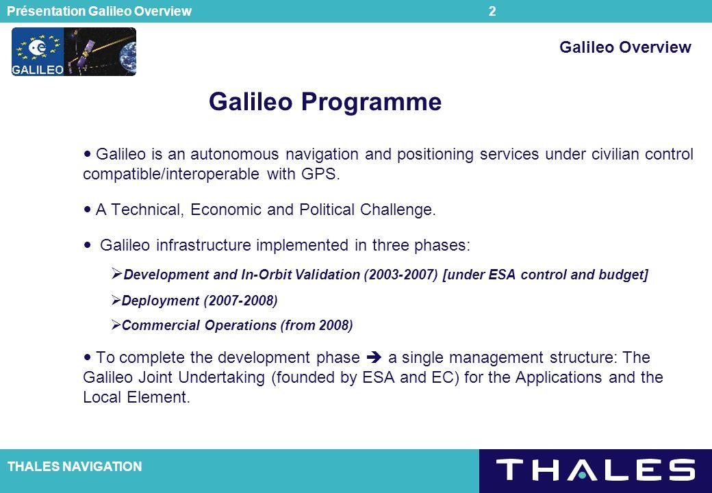 Galileo Programme Galileo Overview
