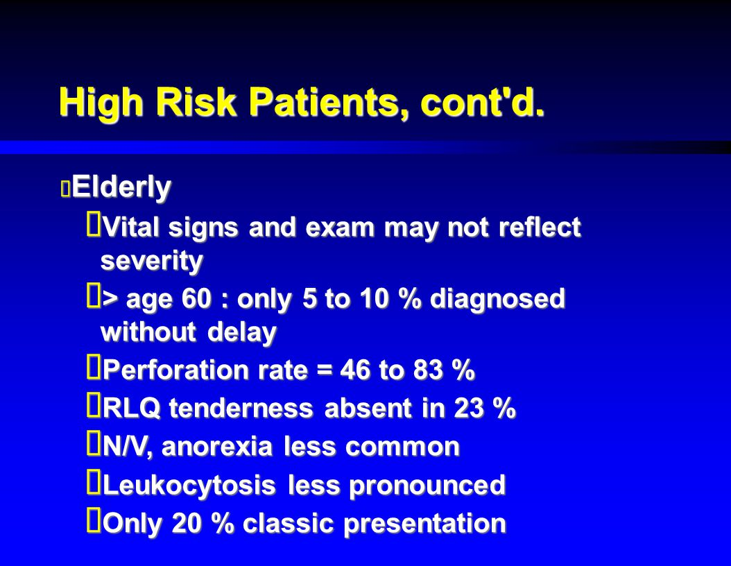 High Risk Patients, cont d.