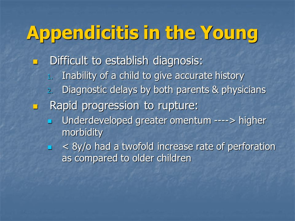 Appendicitis in the Young