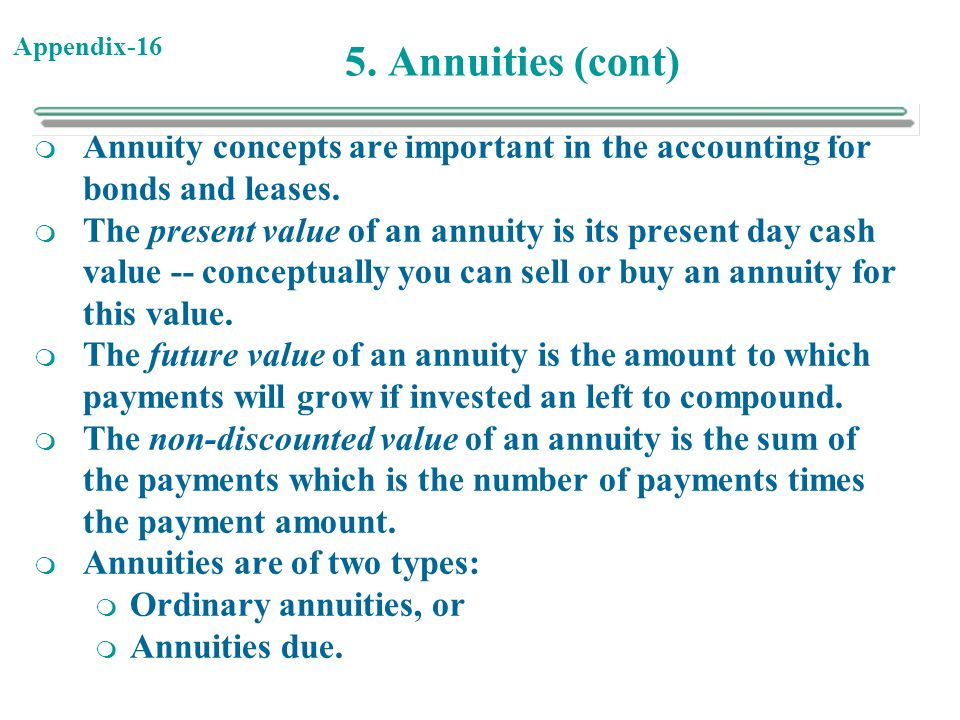 5. Annuities (cont) Annuity concepts are important in the accounting for bonds and leases.