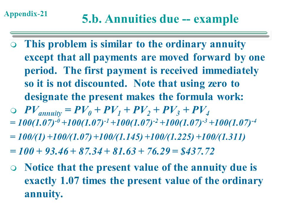 5.b. Annuities due -- example