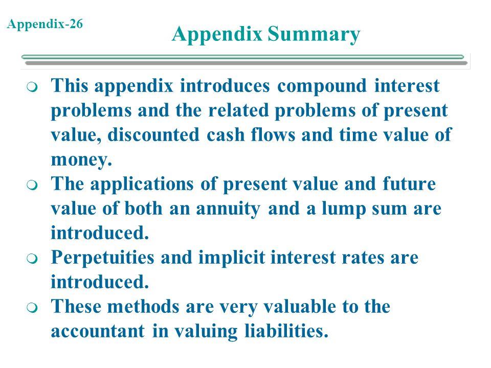 Appendix Summary