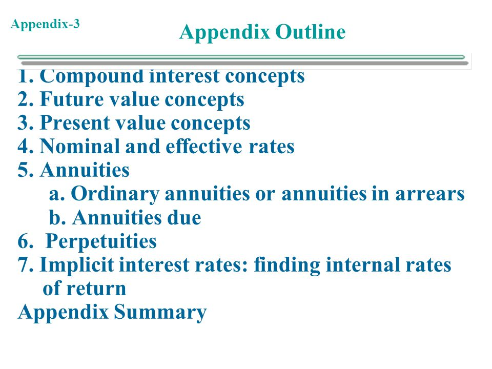 Appendix Outline 1. Compound interest concepts. 2. Future value concepts. 3. Present value concepts.