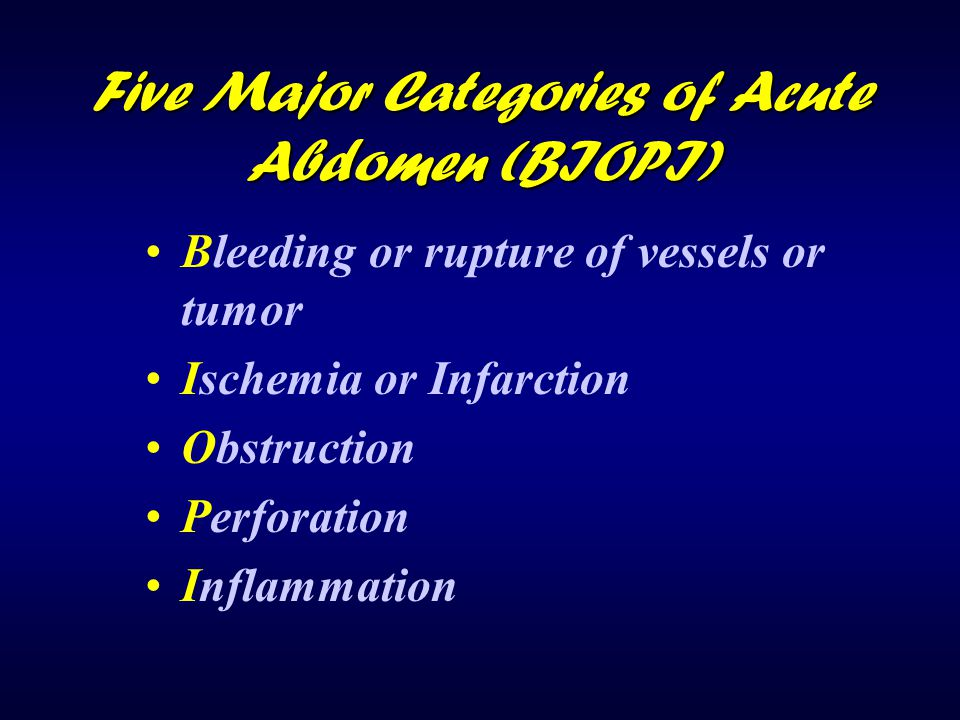 Five Major Categories of Acute Abdomen (BIOPI)