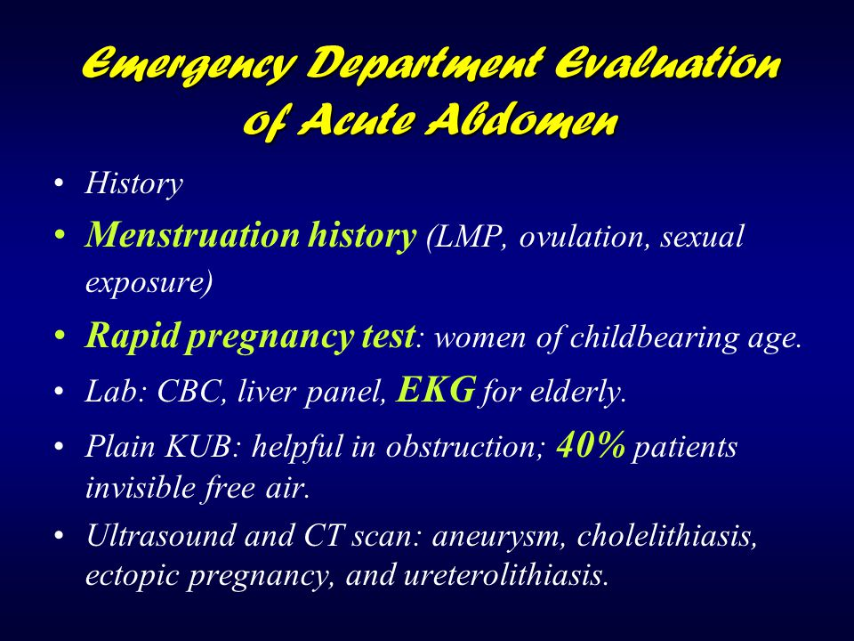 Emergency Department Evaluation of Acute Abdomen