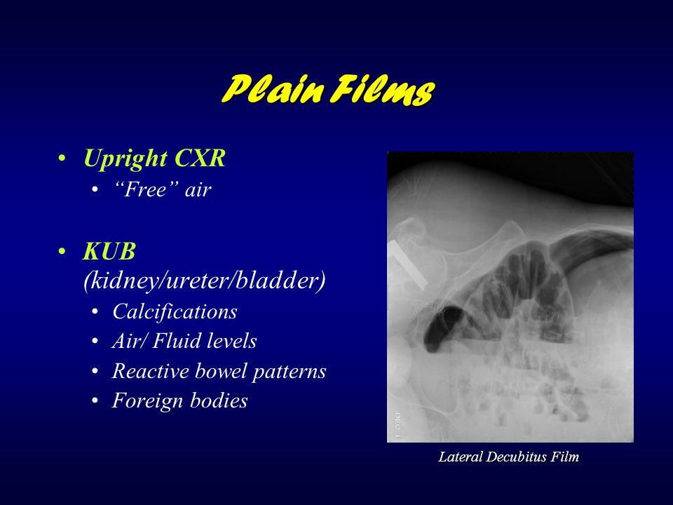 Plain Films Upright CXR KUB (kidney/ureter/bladder) Free air