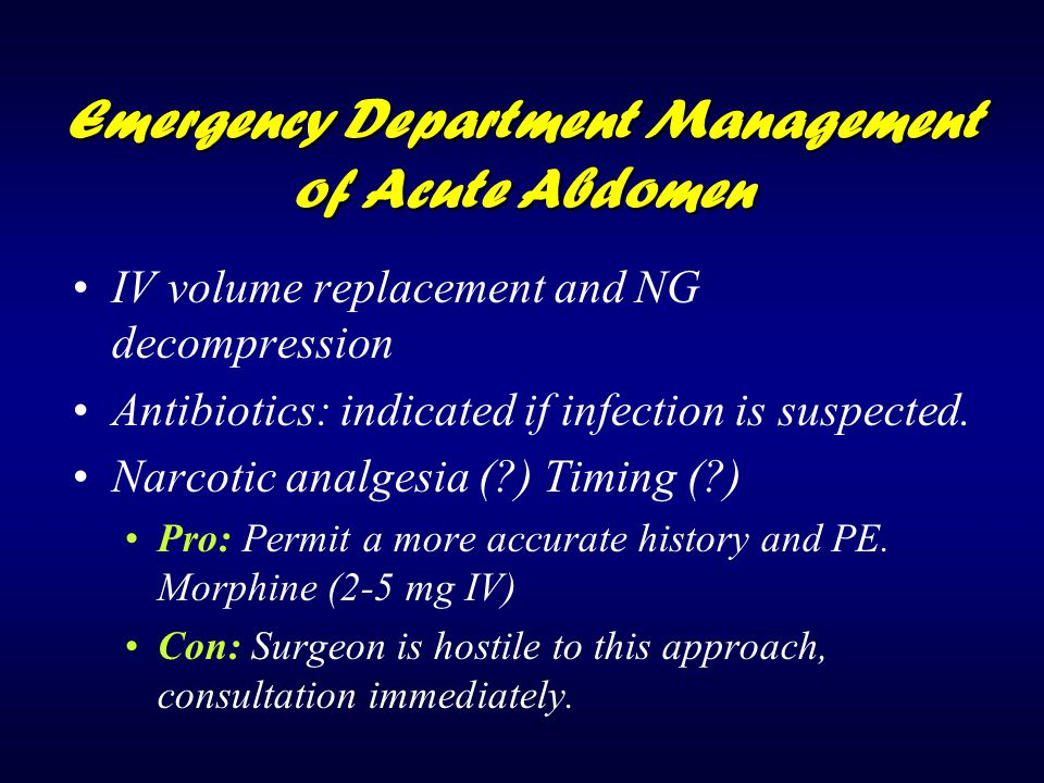 Emergency Department Management of Acute Abdomen