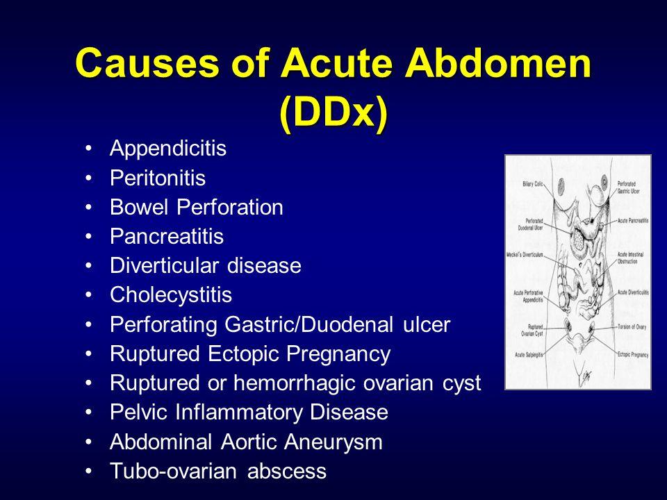Causes of Acute Abdomen (DDx)