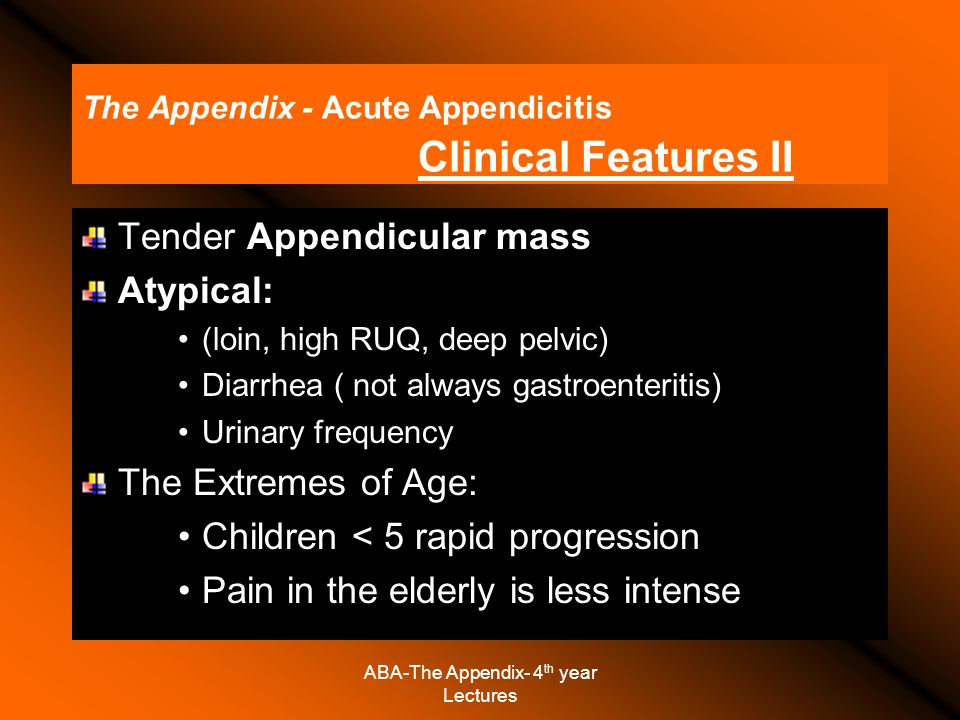 The Appendix - Acute Appendicitis Clinical Features II