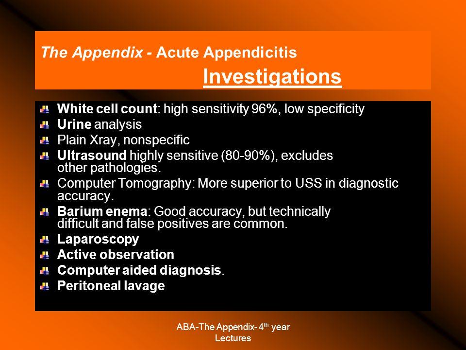 The Appendix - Acute Appendicitis Investigations