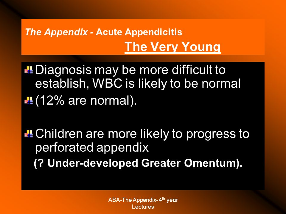 The Appendix - Acute Appendicitis The Very Young