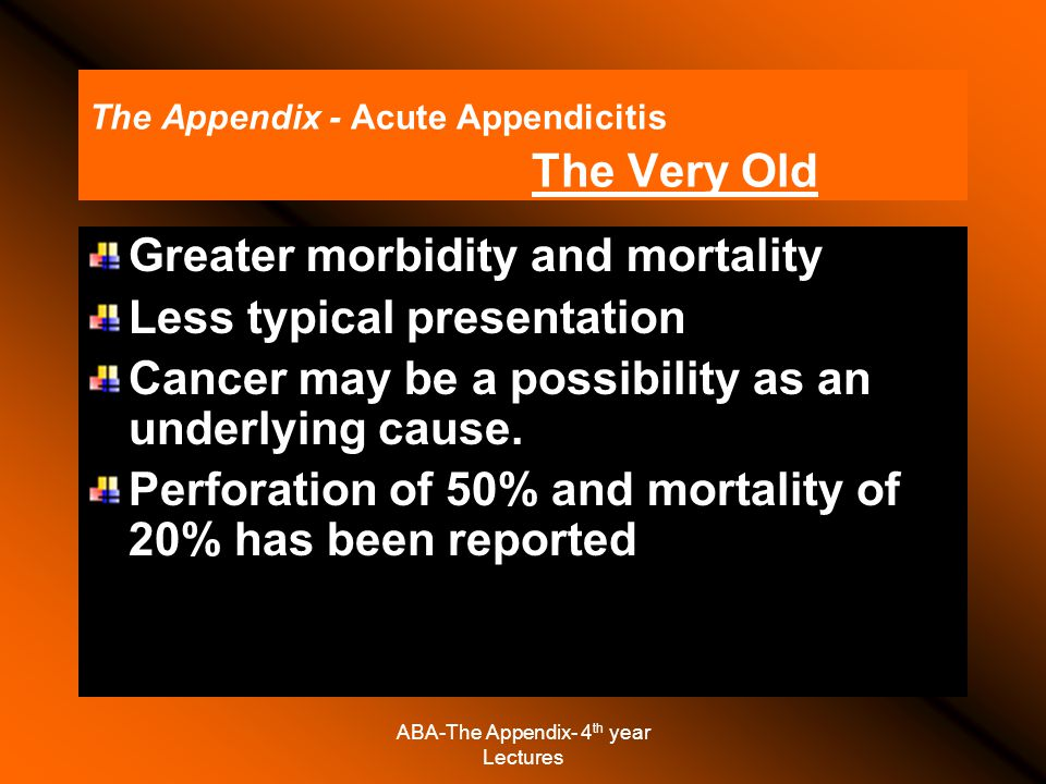 The Appendix - Acute Appendicitis The Very Old