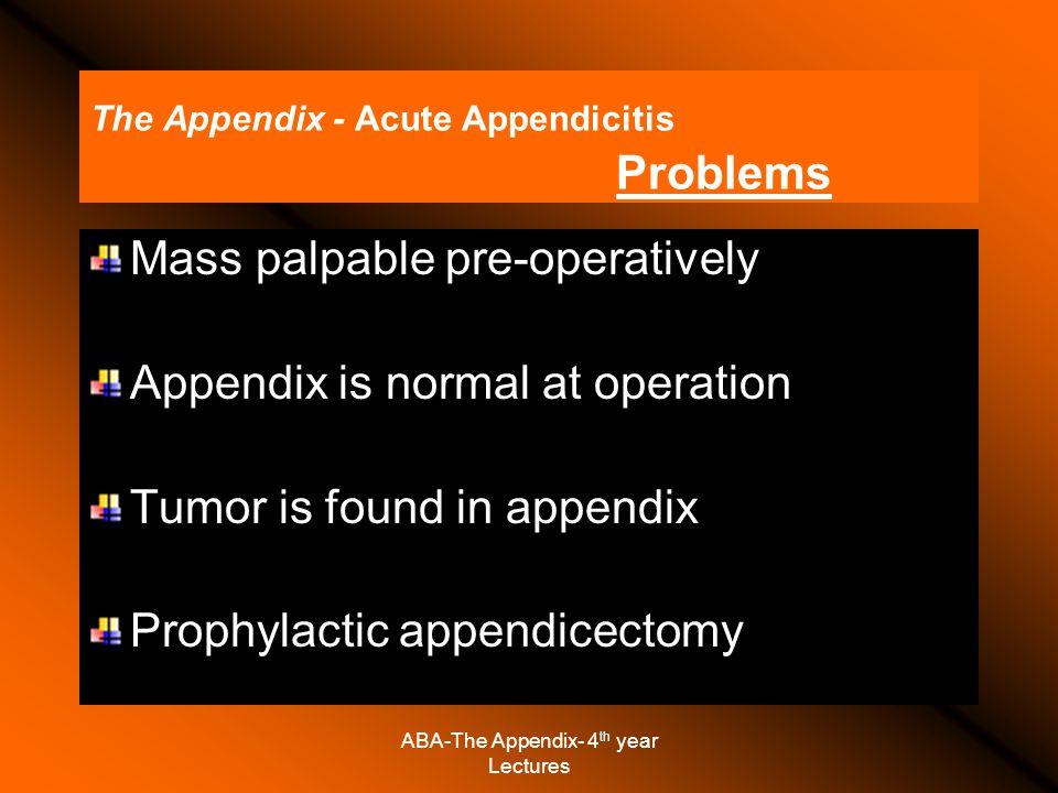 The Appendix - Acute Appendicitis Problems