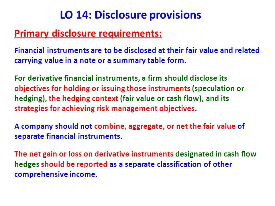 LO 14: Disclosure provisions