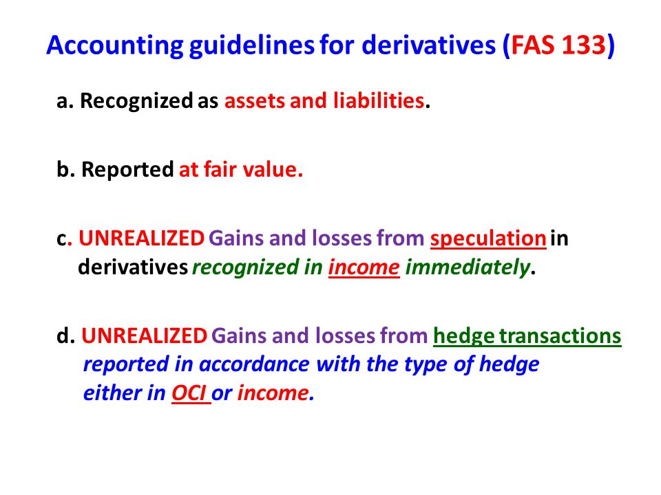 Accounting guidelines for derivatives (FAS 133)