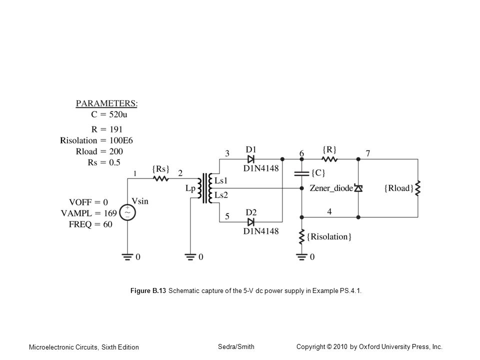 Figure B.13 Schematic capture of the 5-V dc power supply in Example PS.4.1.