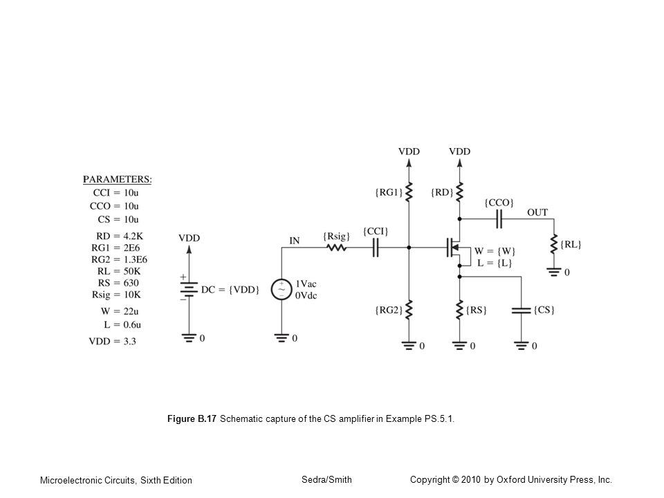 Figure B.17 Schematic capture of the CS amplifier in Example PS.5.1.