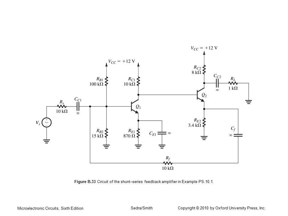 Figure B.33 Circuit of the shunt–series feedback amplifier in Example PS.10.1.