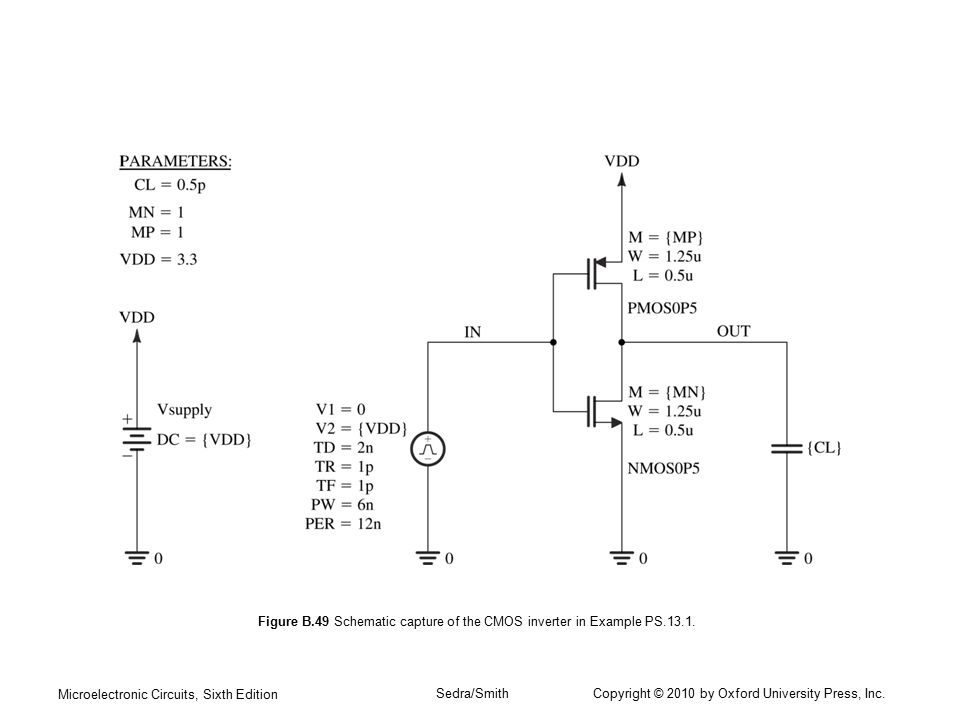 Figure B.49 Schematic capture of the CMOS inverter in Example PS.13.1.