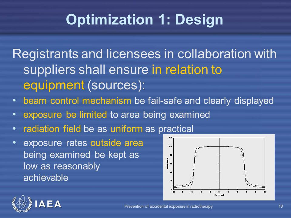 Optimization 1: Design Registrants and licensees in collaboration with suppliers shall ensure in relation to equipment (sources):