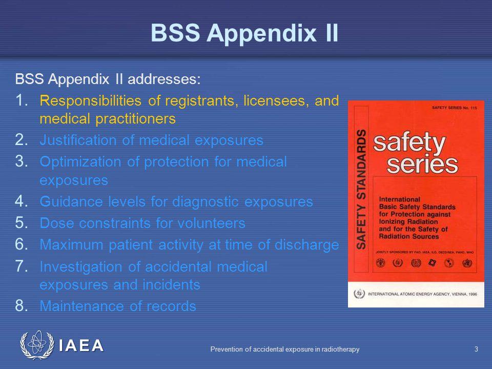 BSS Appendix II BSS Appendix II addresses: