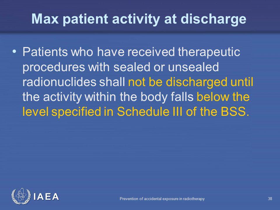 Max patient activity at discharge