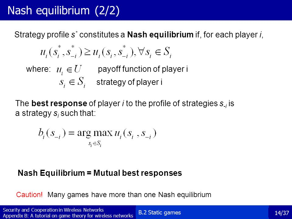 Nash equilibrium (2/2) Strategy profile s* constitutes a Nash equilibrium if, for each player i, where: