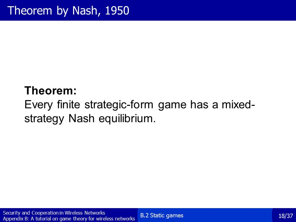 Theorem by Nash, 1950 Theorem: