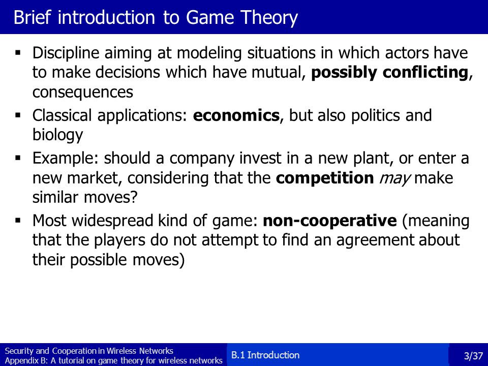 Brief introduction to Game Theory