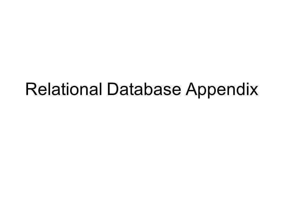 Relational Database Appendix