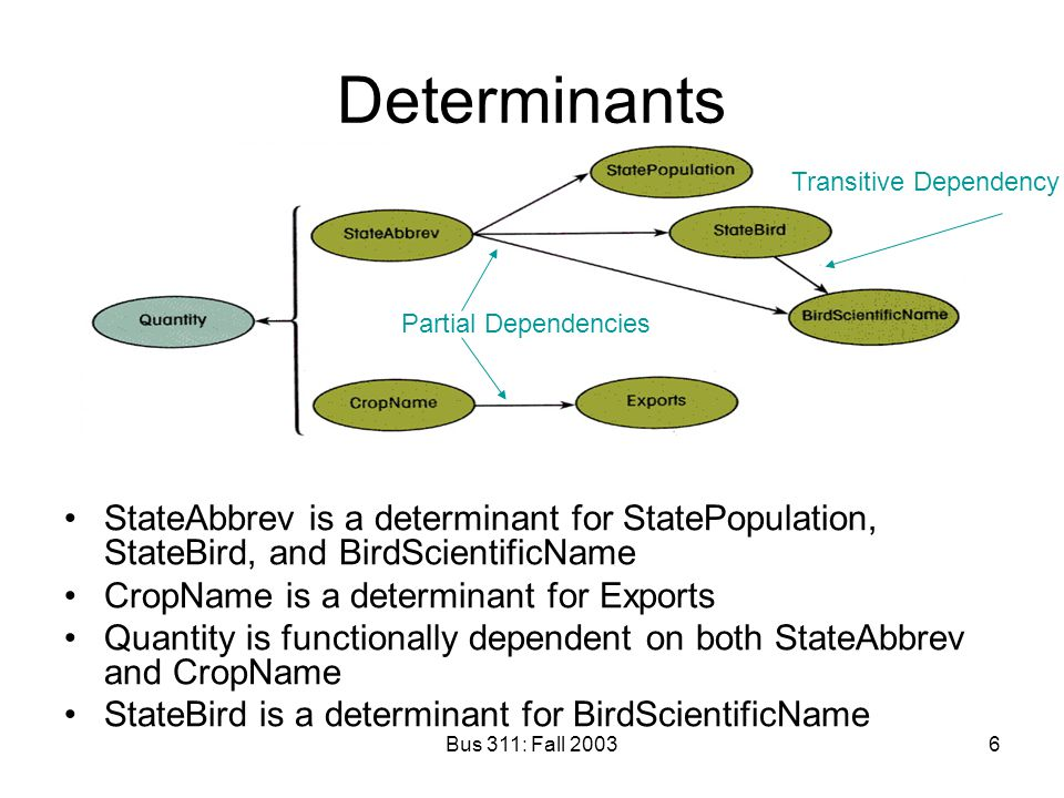 Determinants Transitive Dependency. Partial Dependencies. StateAbbrev is a determinant for StatePopulation, StateBird, and BirdScientificName.