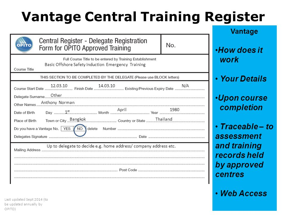 Vantage Central Training Register
