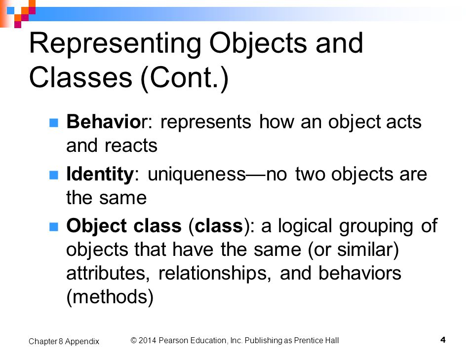 Representing Objects and Classes (Cont.)