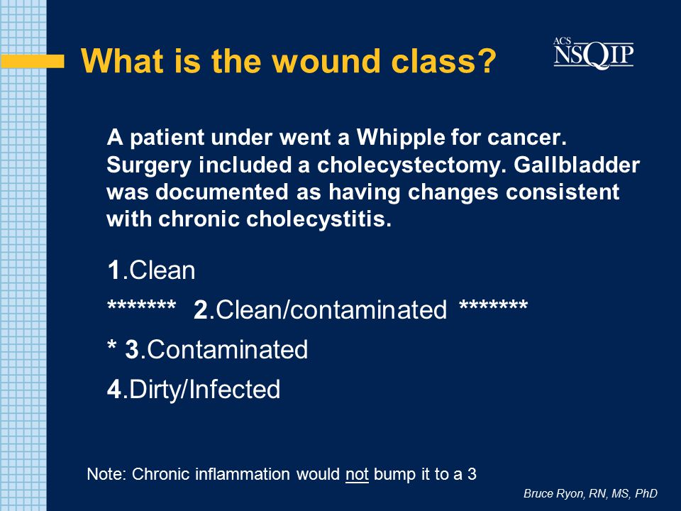 What is the wound class 1.Clean ******* 2.Clean/contaminated *******