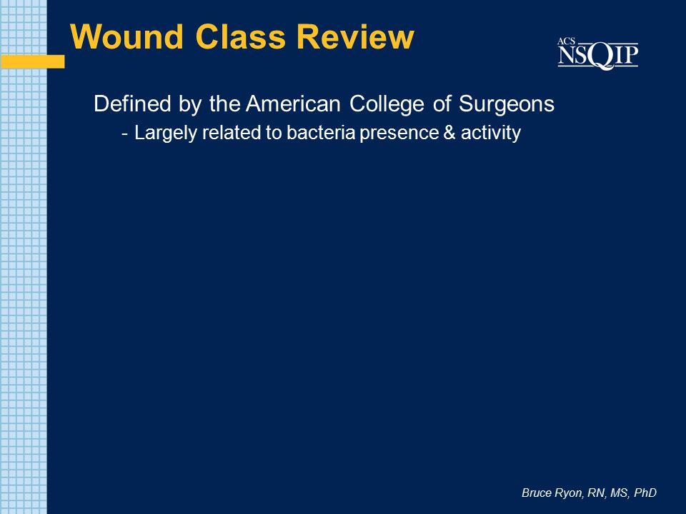 Wound Class Review Defined by the American College of Surgeons