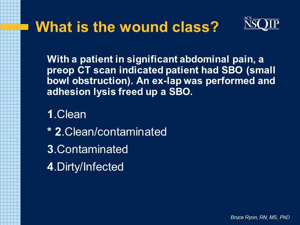 What is the wound class 1.Clean * 2.Clean/contaminated 3.Contaminated