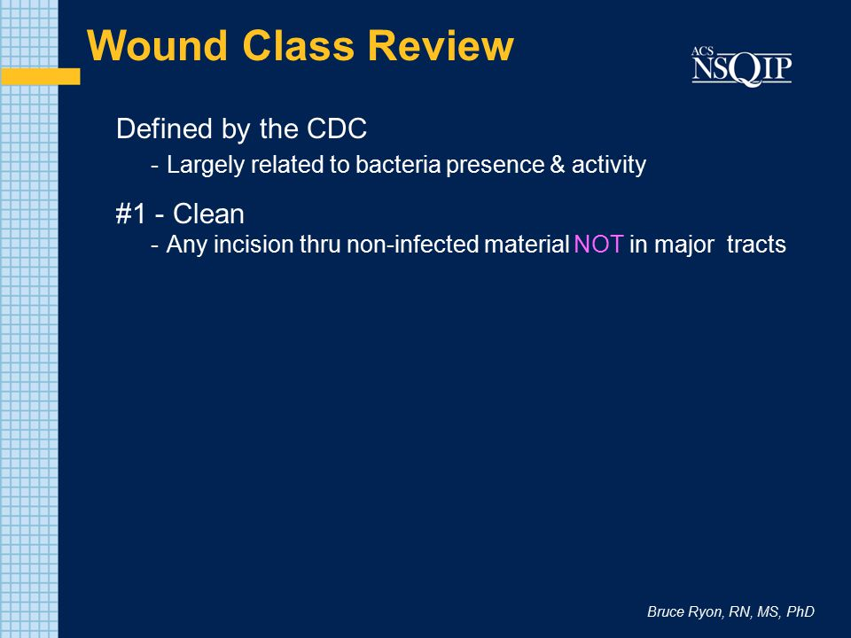 Wound Class Review Defined by the CDC #1 - Clean