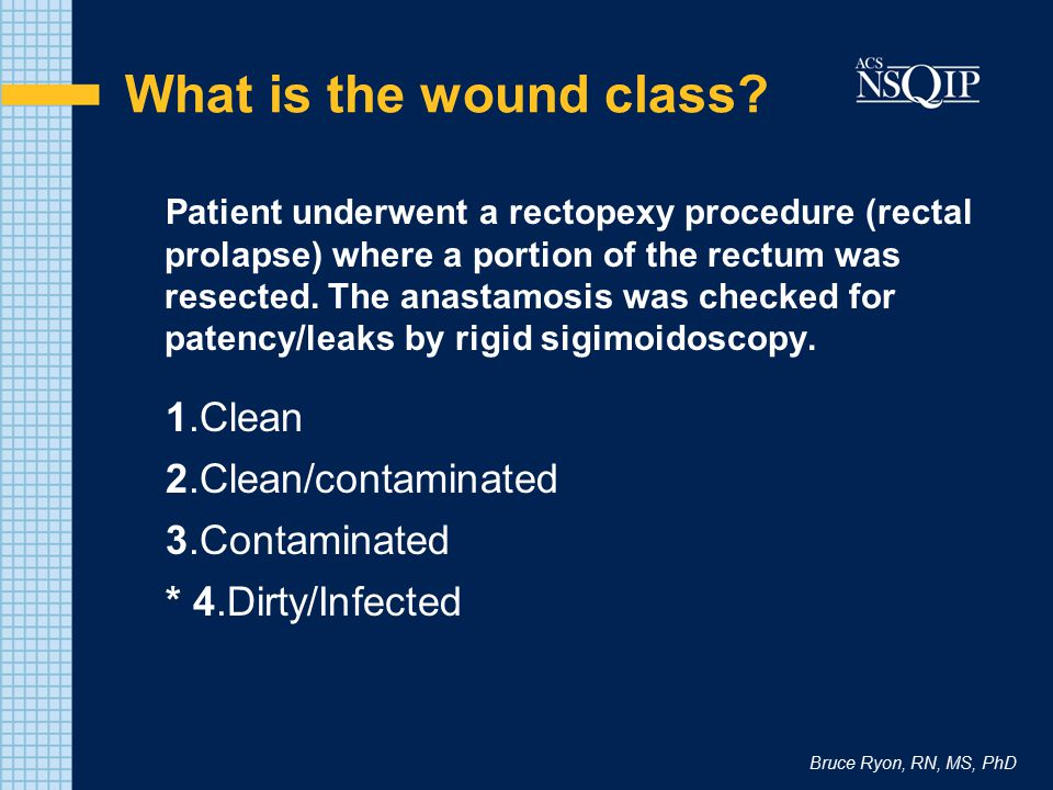 What is the wound class 1.Clean 2.Clean/contaminated 3.Contaminated