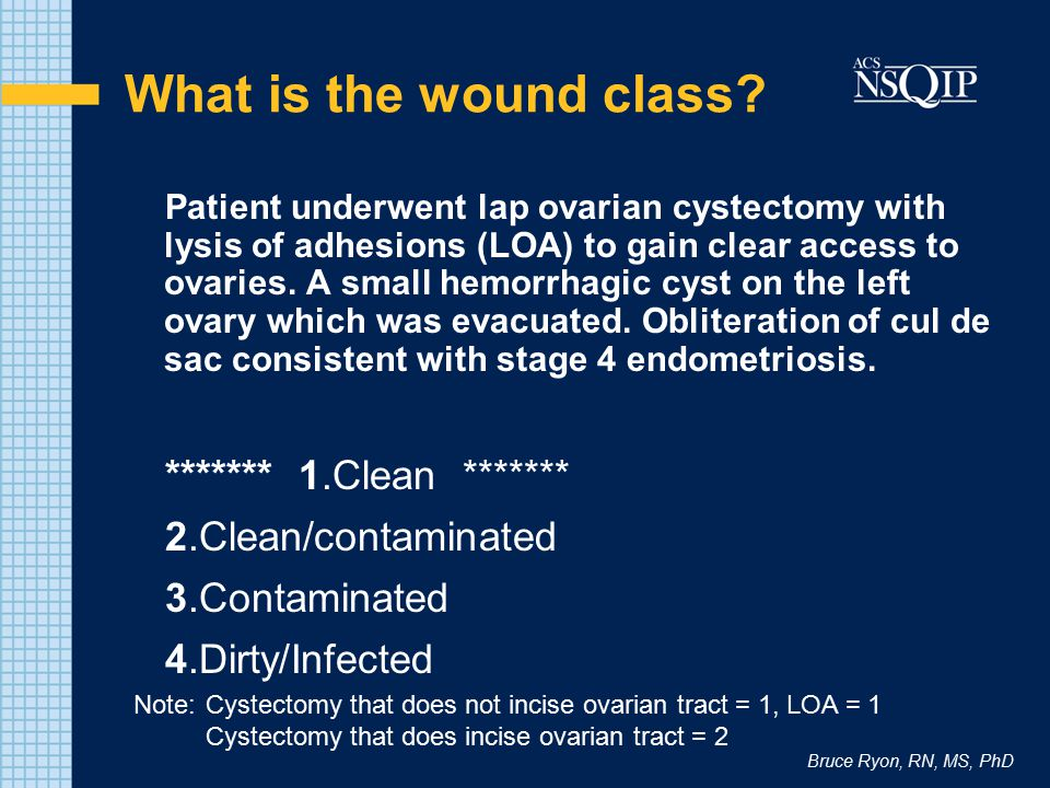What is the wound class ******* 1.Clean ******* 2.Clean/contaminated