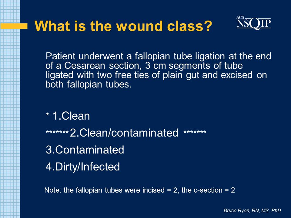 What is the wound class 3.Contaminated 4.Dirty/Infected