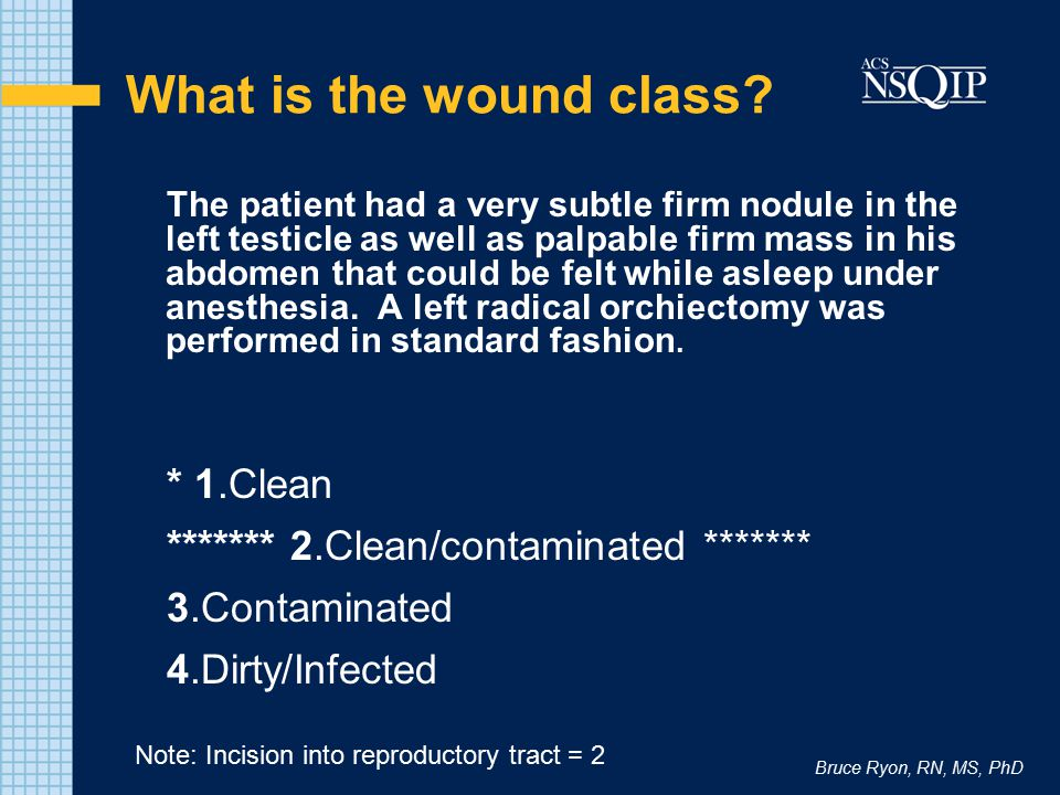 What is the wound class * 1.Clean