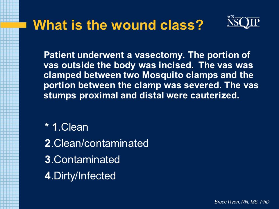 What is the wound class * 1.Clean 2.Clean/contaminated 3.Contaminated