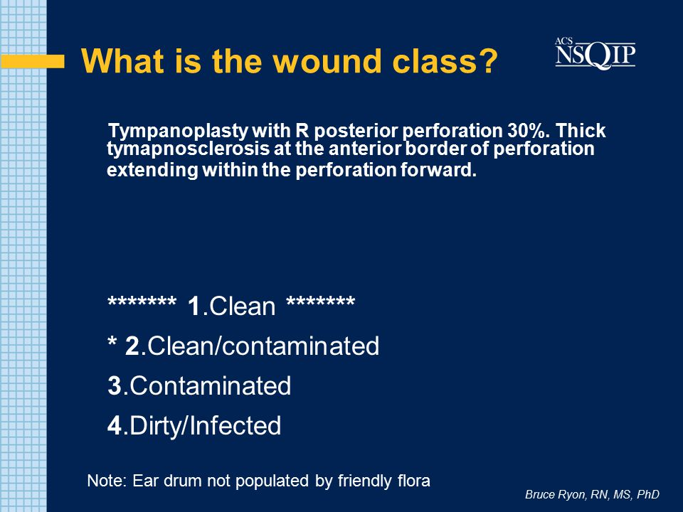 What is the wound class ******* 1.Clean *******