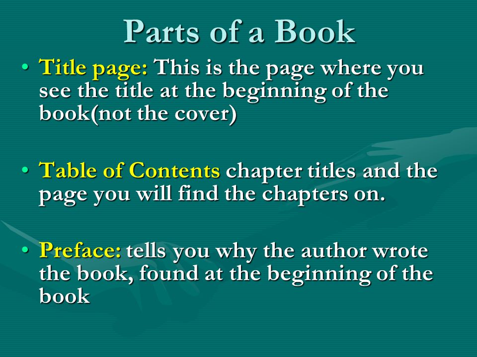 Parts of a Book Title page: This is the page where you see the title at the beginning of the book(not the cover)