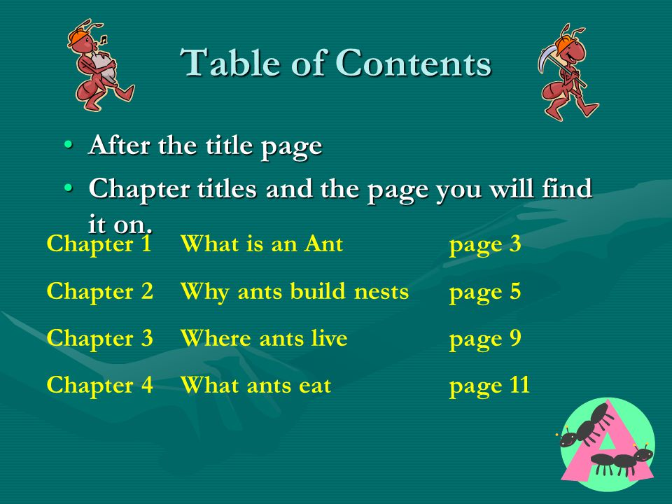Table of Contents After the title page