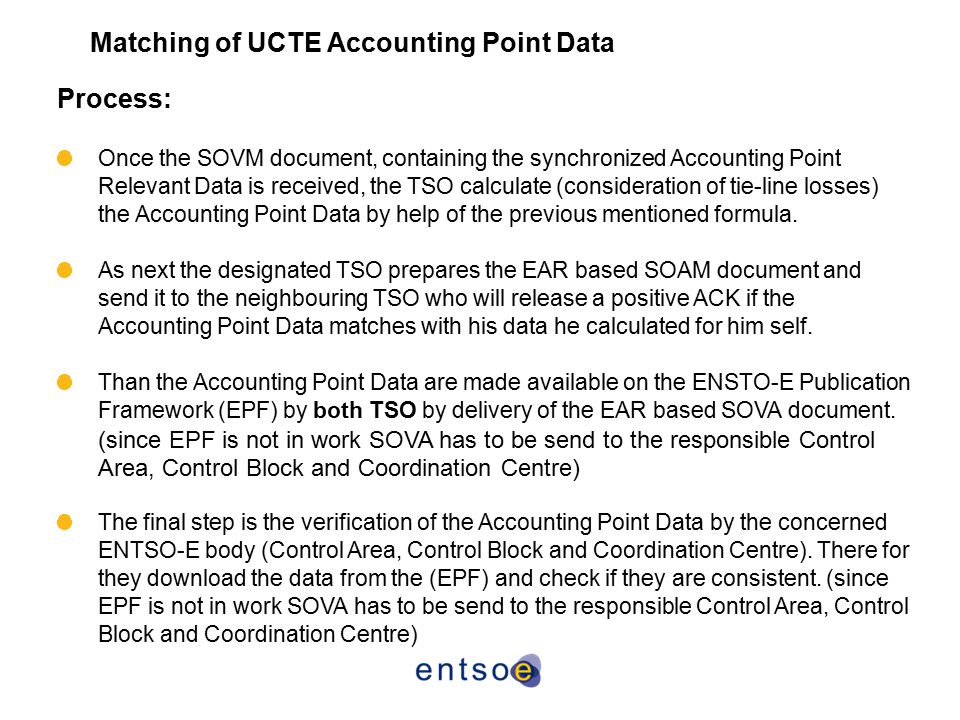 Matching of UCTE Accounting Point Data