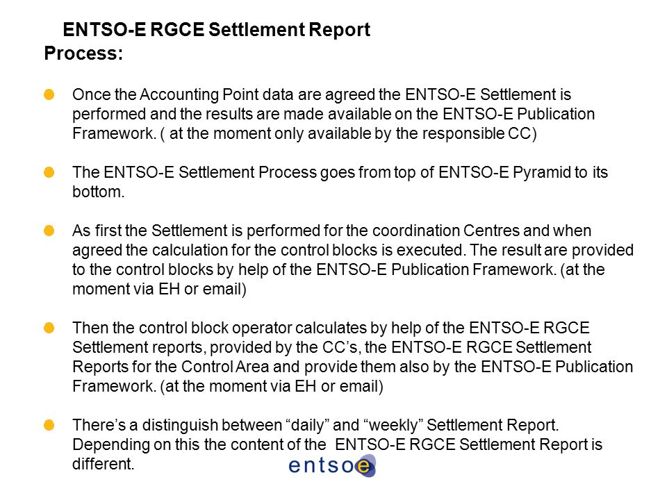 ENTSO-E RGCE Settlement Report