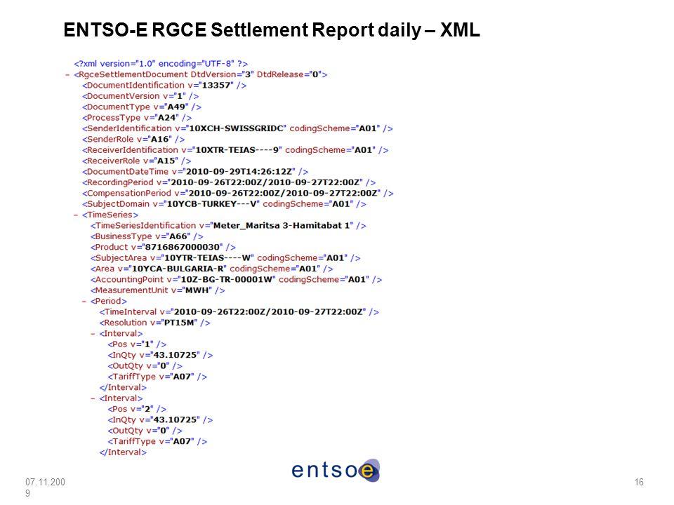ENTSO-E RGCE Settlement Report daily – XML
