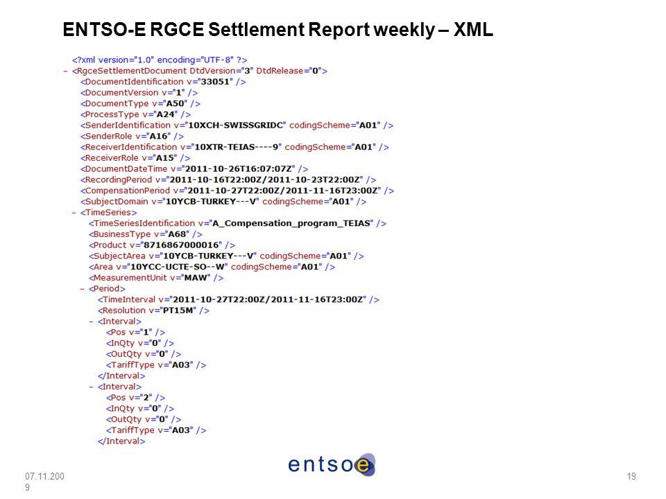 ENTSO-E RGCE Settlement Report weekly – XML