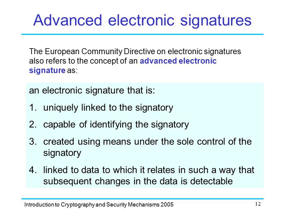 Advanced electronic signatures